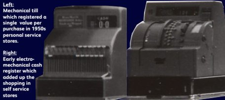 An early electro-mechanical cash register (EMCR) from the 1950s, alongside a traditional single-item mechanical till