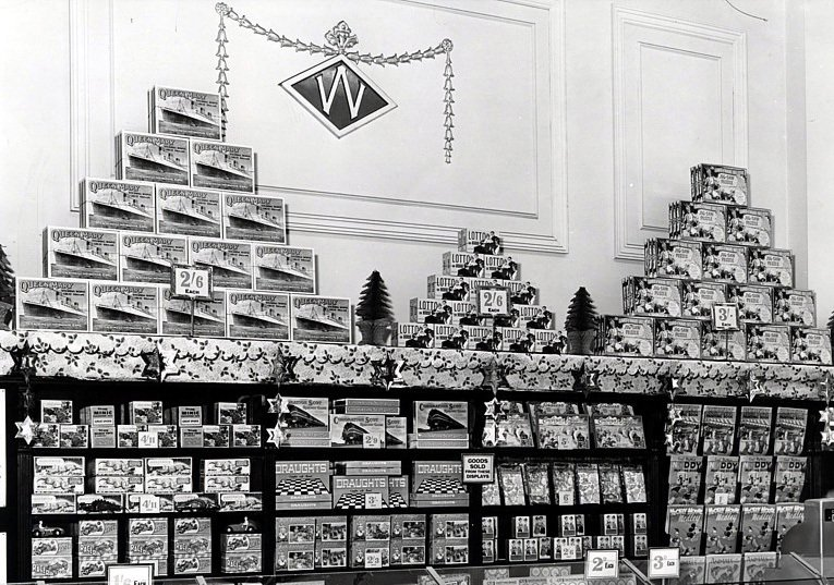 A Christmas feature of Toys above the cornice line in Woolworths Pontypool in 1951.  The pyramid style displays became a Company trademark which was regularly used in the stores into the twenty-first century. (Image with special thanks to Mr. Reg Gallanders)
