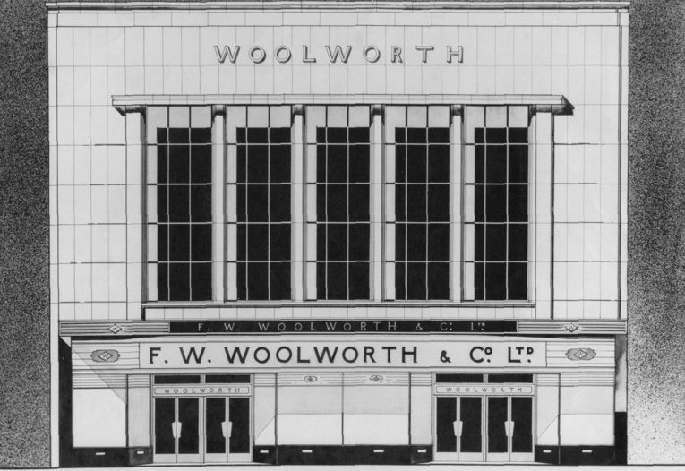 Architect's drawing of the F.W. Woolworth store in Commercial Road, Portsmouth, Hampshire, UK