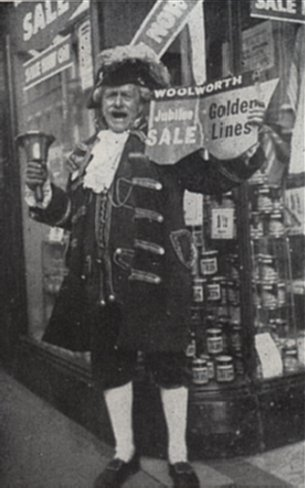 Preston's town crier was enlisted to promote the Woolworths Fiftieth Anniversary Sale in Fishergate