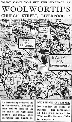 What you can't get for sixpence at Woolworths.  Extracted from a cartoon by students from Liverpool University in 1934.  Among the items you can't buy are socks that don't smell, hot water bottles for cold knights (sic) and pins for pricking.
