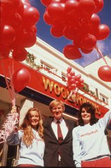 Kingfisher CEO Geoff Mulcahy reopening the Woolworth store in London's Camden Town on 29 May 1986 after it had been given a major makeover