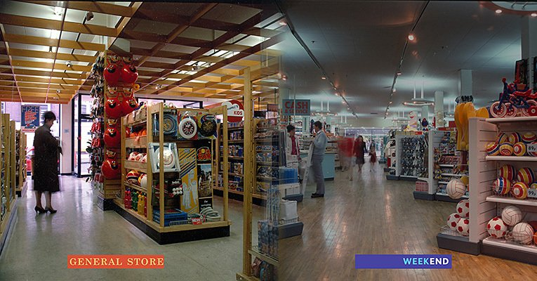 Interior views of new look Woolworth stores for Convenience Towns (General Store, Bicester, Oxon, left) and larger Comparison towns (Woolworths Weekend, Gallowtree Gate, Leicester) - pictured in 1985