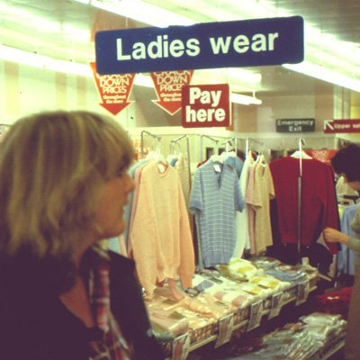 Large arrow signs above discounted displays were a feature of the Crackdown promotion, as shown in these displays of women's fashions at Melton Mowbray in 1980.