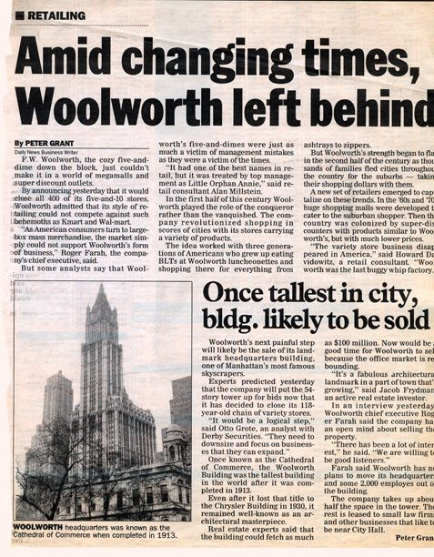Daily News comment on the closure of the remaining Woolworth stores, from 18 July 1997