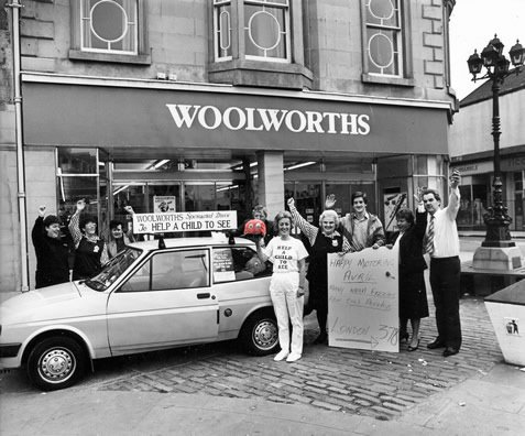 Edinburgh store launch a sponsored drive to London to raise funds for 'Help a Child to See' (February 1989)