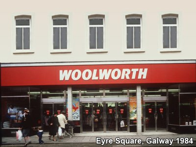 The F.W. Woolworth store in Eyre Square, Galway was the last to be refurbished before the Company changed hands in 1982 at a reported cost of £150,000. It closed just two years later when the new owners decided to withdraw completely from the Republic of Ireland