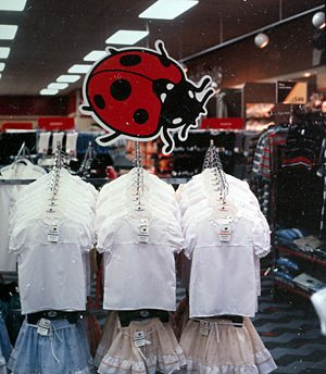 The huge Ladybird logo made its first appearance above prototype displays at 'The Woolworths Mall' - a superstore in Broad Street, Reading, Berkshire in 1985