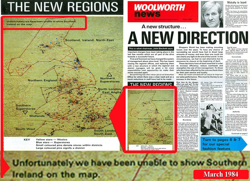 Giving the lie to the official line on the closures in Ireland. The March issue of the staff newspaper 'Woolworth News' included this blunt bombshell that, with hindsight, let the cat out of the bag.