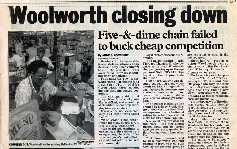 Media coverage of the shutdown of the remaining Woolworth stores in the USA and Canada, from The Daily News of Friday 18 July 1997