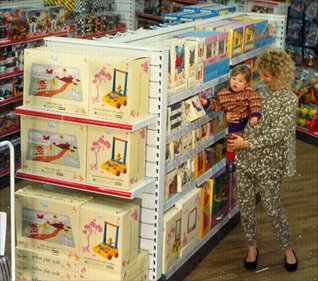 One of the first displays of Chad Valley toys in a large, modernised Comparison store in 1987
