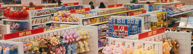 A panorama of the Toy department at Woolworths in Clapham Junction, London in 1987