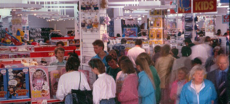 Packed with customers, the Toy Department at Woolworths in Leicester in 1987