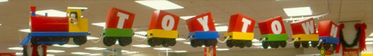 Toytown ceiling-mounted trains toured the ceiling of modernised larger Woolworths stores in the late 1980s and early 1990s