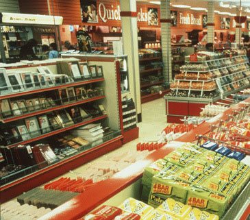 Toiletries and cosmetics were included in the original new layout for Woolworth stores in the 1980s, but were abandonned when the chain's parent bought Superdrug. In the background of this picture of the store in Midland Road, Bedford you can also see three other abandonned departments -  a cigarette kiosk, fresh bread and caskes and a brand new delicatessen counter