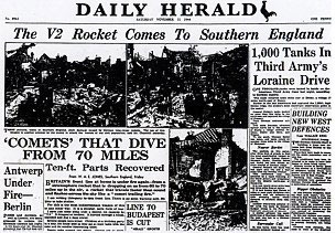 "The Daily Herald of Saturday November 11th provided the first official acknowledgement of the new V2 rockets that had been nicknamed ""the flying gas mains"", as up to this point all explosions had been officially explained as gas leaks."