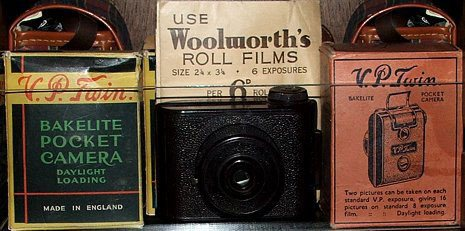 The VP Twin Camera : One of the true wonders of Woolworths. Manufactured in Bakelite by Elliots and sold in F. W. Woolworth British stores in the 1930s.