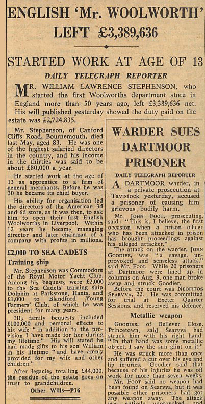 Obituary for William Lawrence Stephenson from the Daily Telegraph (courtesy of Telegraph Newspapers Ltd)