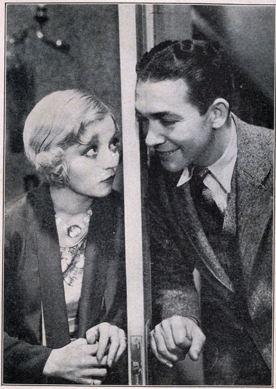 Alice White and Charles Delaney in the 1929 talkie 'The Girl from Woolworth's' (picture originally published by Efrus & Bennett Inc., New York, 1929)