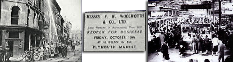 The large Woolworth store in George Street, Plymouth was destroyed by enemy action in World War II, but soon re-opened in Plymouth Market. The bricks and mortar store finally reopened almost ten years later in New George Street, Plymouth in 1950 and lasted until the end of the store-based company in January 2009