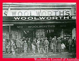 A copycat company opened a chain under the F. W. Woolworth name in Australia in 1924. The store layout was based on its founder's visits to London and the threepenny and sixpenny stores. Today it is the market-leading supermarket down-under