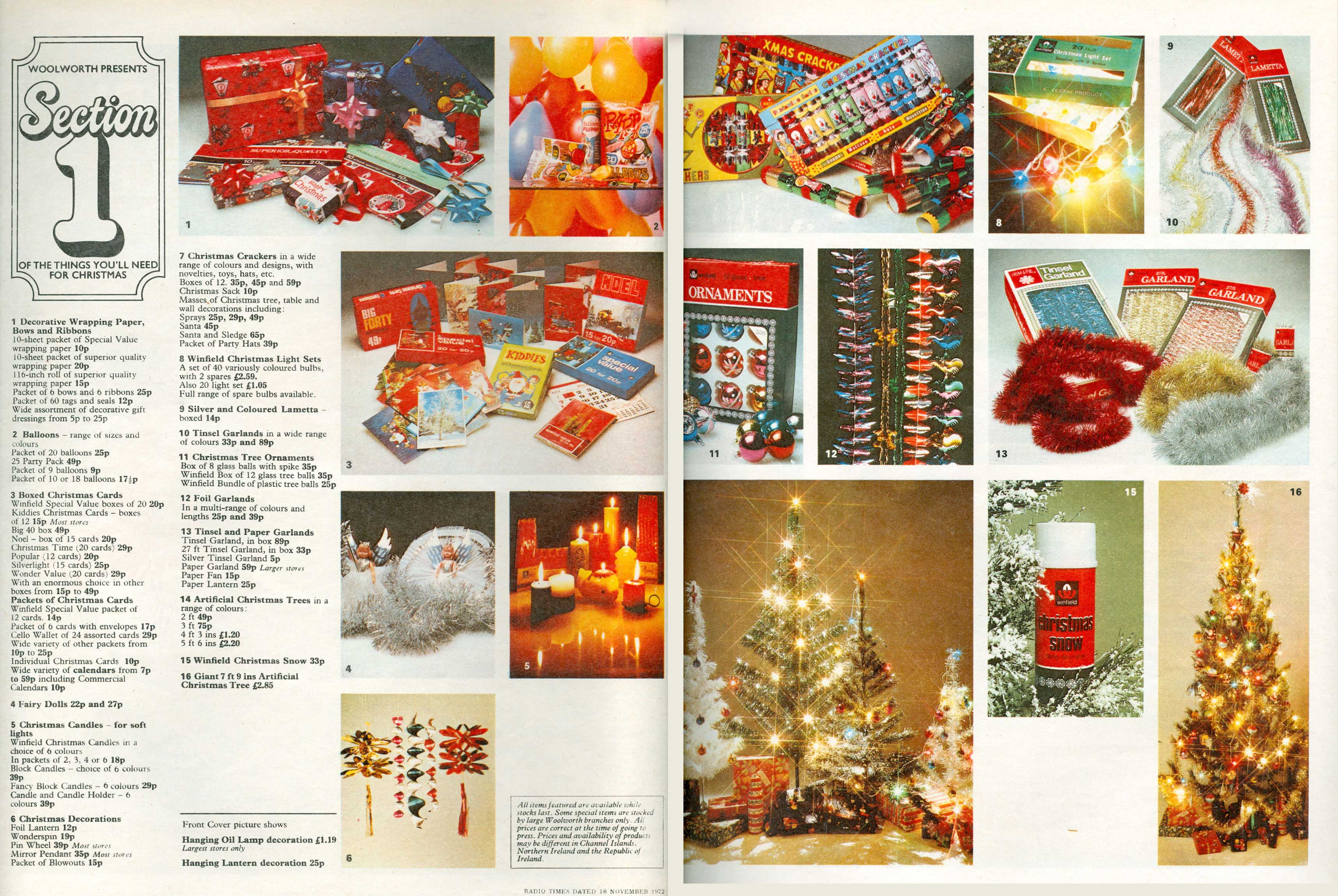 a sample spread from woolworths uks first national christmas catalogue which was distributed with the - 1950s Christmas Decorations