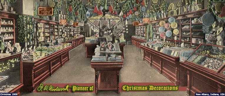 The elaborately decorated salesfloor of the F. M. Kirby & Co. store in New Albany, Indiana, USA in 1909, which was a member of the Woolworth Syndicate
