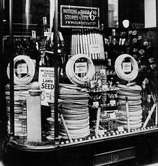Six ounces of grass seed for sixpence, or your own hosepipe for threepence from the Window of Woolworth's, Church Street, Liverpool in the 1930s