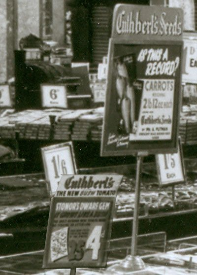 A sign on the seed counter at Woolworth's in 1948 celebrates the customer who grew 2lb 12oz (1.15 kg) of carrots from a single fourpenny packet of R. & G. Cuthbert's seeds.