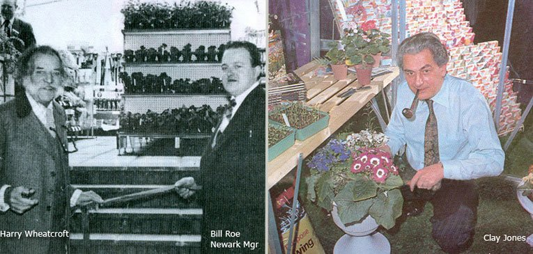Left: King of the roses, Harry Wheatcroft and Newark Woolworths Manager Bill Roe cut the ribbon to open the firm's first Garden Centre in 1976; right: Clay Jones in a Woolworth Crittall Greenhouse. Jones was behind 'The Gardener's Year' - a comprehensive horticulture training package for Woolworths staff