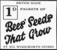 1932 Advertisement for Bees Seeds from Woolworth's which were just one penny a packet.