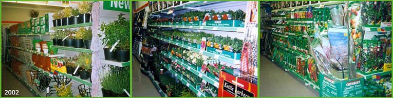 A full range of growing gardening on sale in a small 'Woolworths Local' in 2002. After this date the range was scaled back as the firm pursued a new 'Kids and Celebrations' strategy