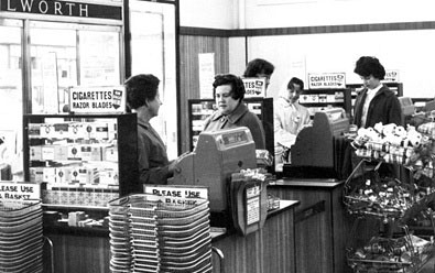 The checkouts of a self-service Woolworth store in 1960