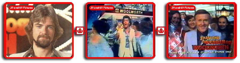 Many celebrities featured in the Wonder of Woolworth advertising, but none could beat the virtuouso performances of a very young Noel Edmunds (left) Georgie Fame (centre) and Sir Jimmy Young (right)