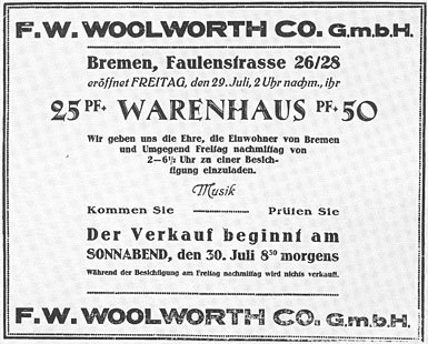 A press advertisement, announcing the opening of the first German Woolworth store at 26-28 Fallenstrasse, Bremen on 30 July 1927