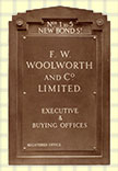 The nameplate from the Woolworths UK headquarters at 1-5 New Bond Street, London W1.  The company was based at this office from 1929 to 1959