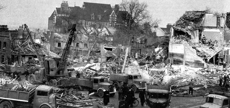 The devastation at New Cross Road, Deptford, where the F. W. Woolworth store was destroyed by a German V2 rocket on 25th November 1944.
