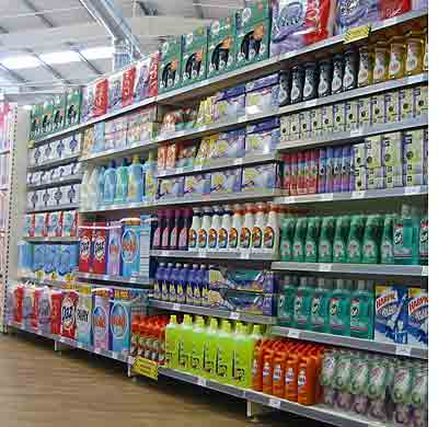 Soap powder and household cleaning products on display at Newcastle-upon-Tyne's out of town Woolworths in Byker in 2005