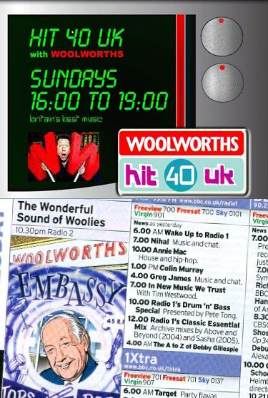 Woolworths' 80 year love affair with radio included sponsorship of Hit40UK presented by Neil Fox, and an appearance in the store chain's final week's trading on BBC Radio 2