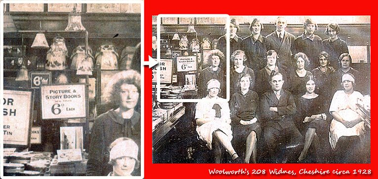 Story and picture books on sale in the Woolworths store in Widnes, Cheshire in around 1928.  The picture, which was contributed by members of the Widnes team, shows the full staff of the store at that time