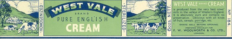 West Value Pure English Cream - sold for sixpence for 6 oz tin at Woolworths in 1939 (170 grams for 2.5p, the equivalent of 14p per litre)