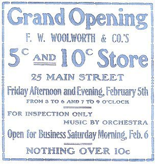 Advertisement for the opening of one of the early American Woolworth stores (Image with special thanks to Mr John Compton)