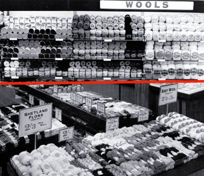 Putting the wool into Woolworths - balls of wool were a best seller in the High Street stores from 1909 until 1990.  Many balls were sold under the Woolworth name and later with the trademark 'Abigail'. (Top: Wall display of wool at Didcot, Oxfordshire, one of the first self=service stores in 1956, bottom: personal service counter at Portsmouth, Hampshire in 1953.)