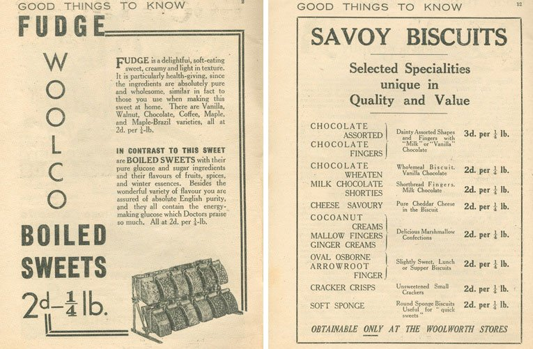 Woolco Boiled Sweets (tuppence a quarter pound) and Savoy Biscuits, sold pic'n'mix style at Woolworths in 1938