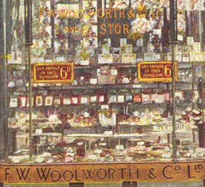 The window display at the original British Woolworth store in Liverpool's Church Street in November 1909