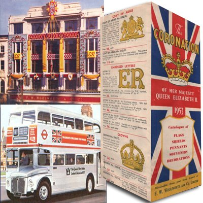 Woolworths marking the Coronation and Silver Jubilee of Her Majesty Queen Elizabeth II (clockwise: Coronation mementoes brochure, the Oxford Street, London flagship store dressed for the Coronation, and a Silver Jubilee London Routemaster bus in Woolworth livery