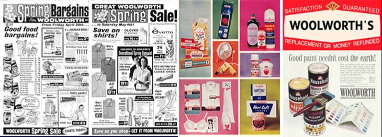 Advertisements from the early 1960s - left to right - Double Page Press Ad from 1963, Winfield advertising from 1964, the firm's slogan from 1960 and Household Brand Paint Advertising from 1960
