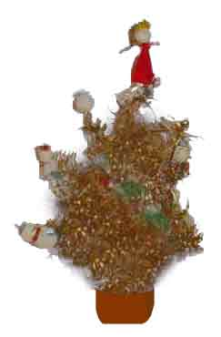 A simple foil, cellulose and plastic decorated Christmas Tree - 5 shillings (25p) in 1957.