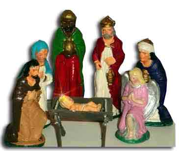Nativity sets made of chalkware (sculpted gypsum), painted in watercolours became very popular at Woolworths in the 1930s. Each piece was sixpence (2½p) or the complete set including two pieces free was three shillings (15p)