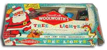 A string of seven bakelite Christmas tree lights for 85 cents from Woolworth's in North America in the late 1930s